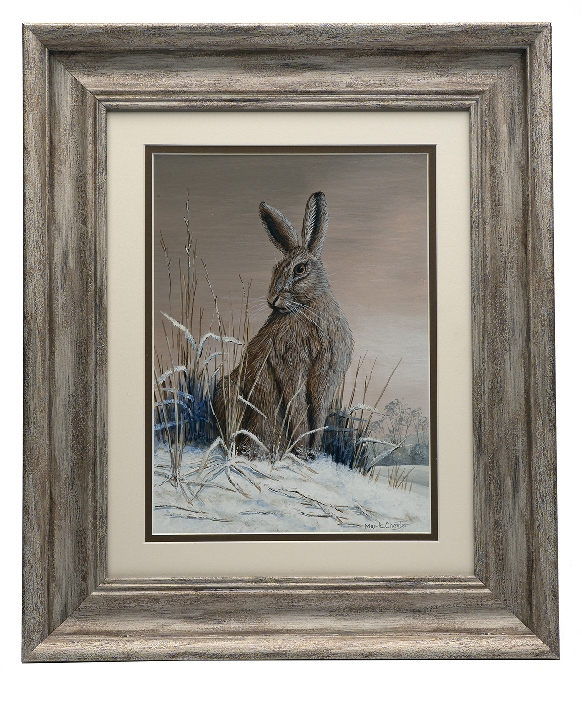 MARK CHESTER (F.W.A.S.) 'EVENING HARE', an original painting signed by the artist, showing a hare in