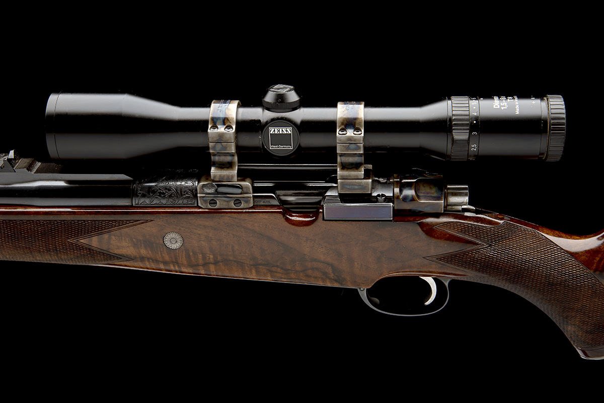 J. RIGBY & CO. A FINE, HUNT-ENGRAVED .375 H&H MAGNUM BOLT-MAGAZINE SPORTING RIFLE, serial no. - Image 5 of 12