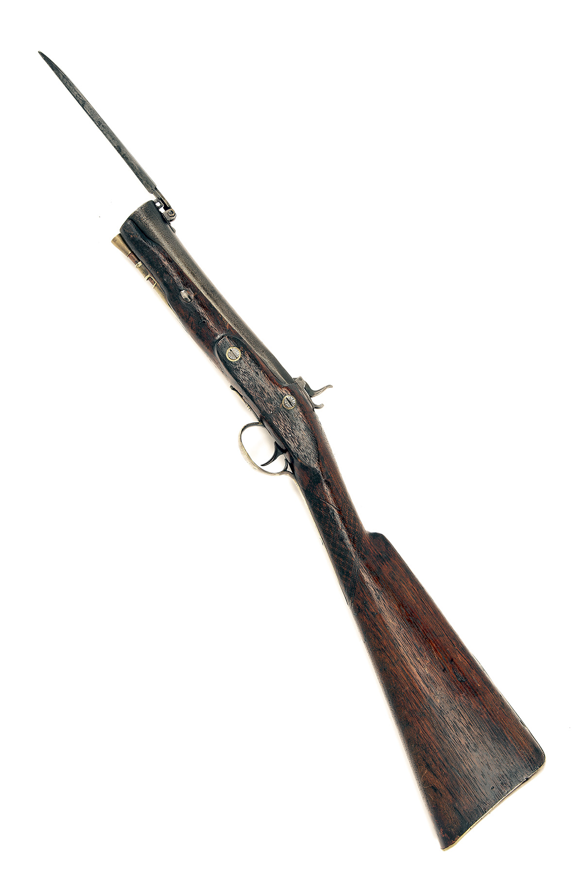 A 28-BORE PERCUSSION IRON-BARRELLED BLUNDERBUSS WITH FOLDING BAYONET SIGNED 'CONWAY', no visible - Image 2 of 5