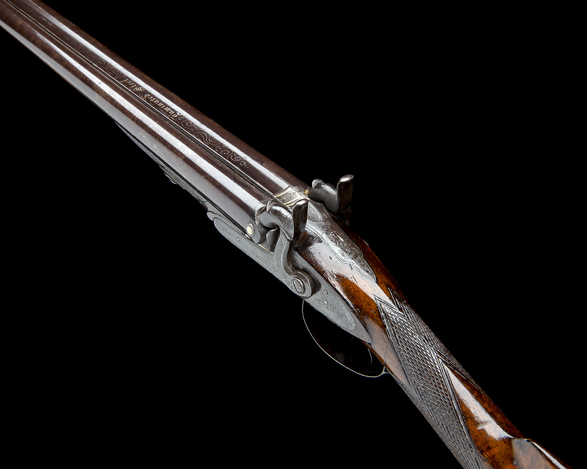 BENTLEY & SONS, LONDON A 15-BORE PERCUSSION DOUBLE-BARRELLED SPORTING-GUN, no visible serial number, - Image 4 of 7