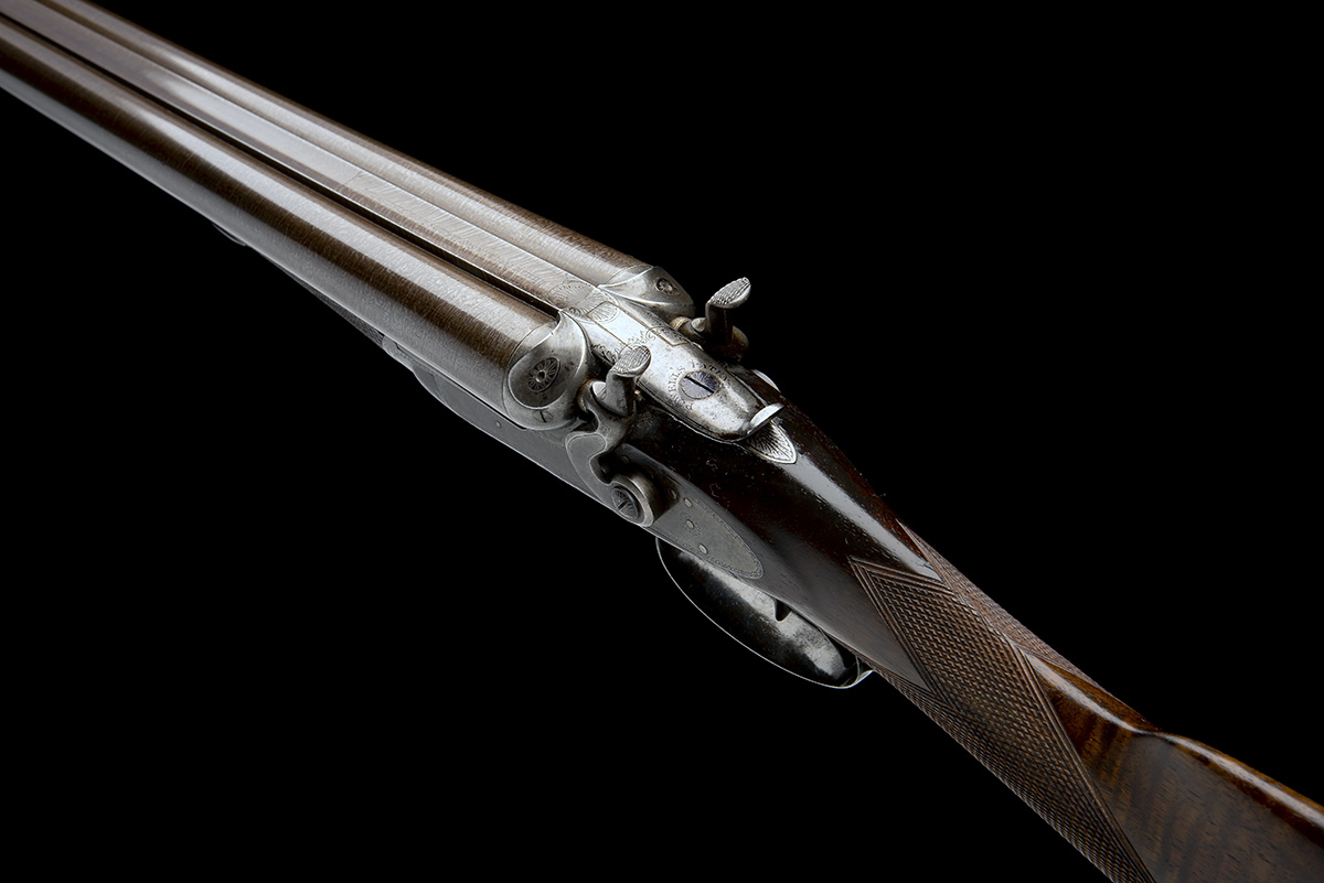 WILLIAM POWELL & SON A 12-BORE 1864 PATENT BAR-IN-WOOD LIFT-UP TOPLEVER ROTATING SINGLE BOLT SNAP- - Image 8 of 8