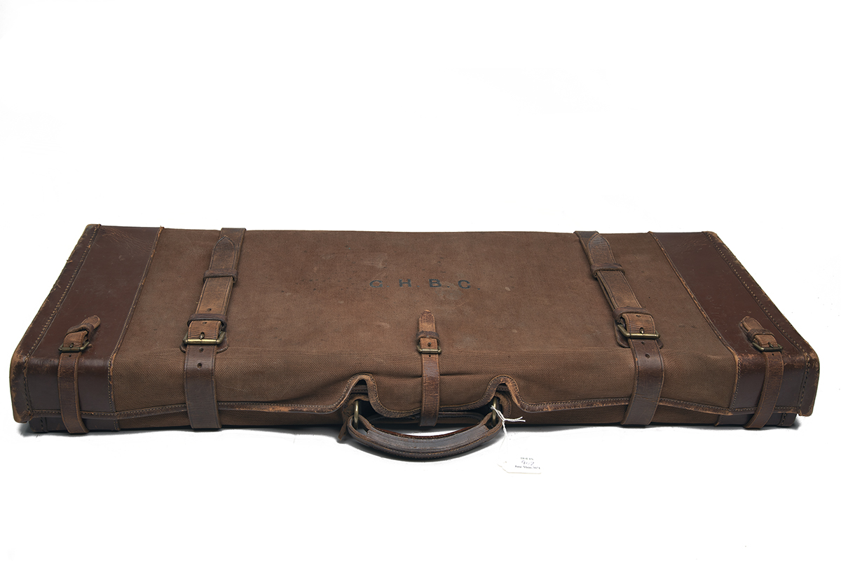 HOLLAND & HOLLAND LTD. A LEATHER DOUBLE GUNCASE, fitted for 30in. barrels, the interior lined with - Image 2 of 2