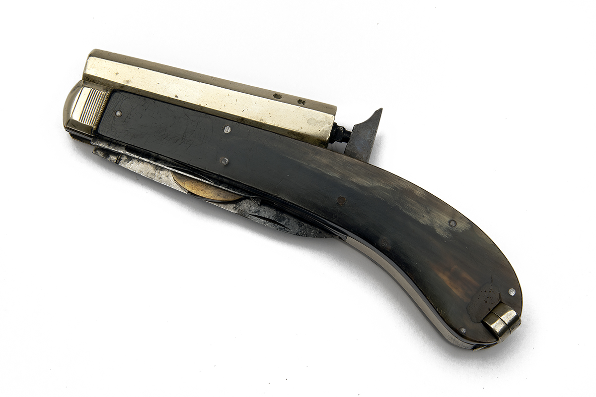 JAMES RODGERS, SHEFFIELD A 160-BORE PERCUSSION KNIFE-PISTOL WITH TWIN FOLDING BLADES, MODEL 'UNWIN &
