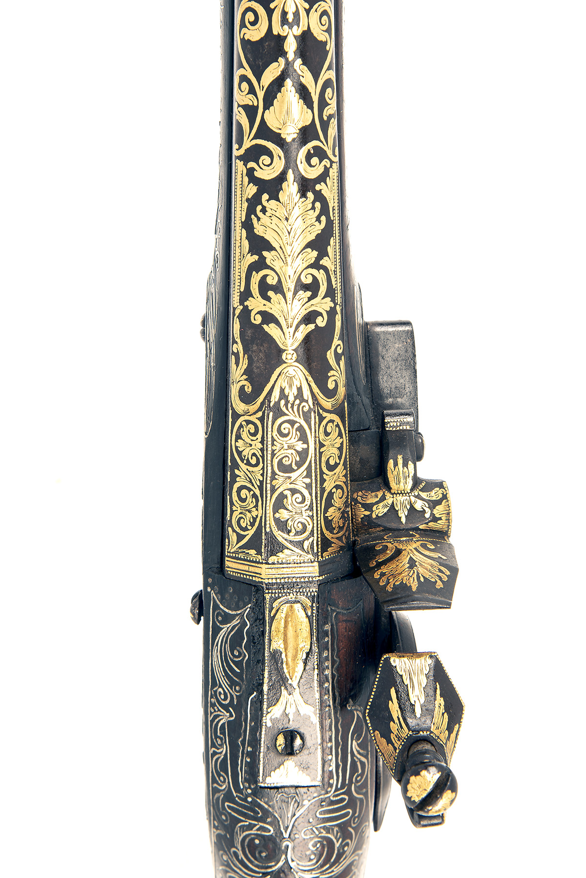 A GOOD PAIR OF 20-BORE FLINTLOCK OTTOMAN HOLSTER-PISTOLS WITH GILT DECORATION, UNSIGNED, no - Image 9 of 10