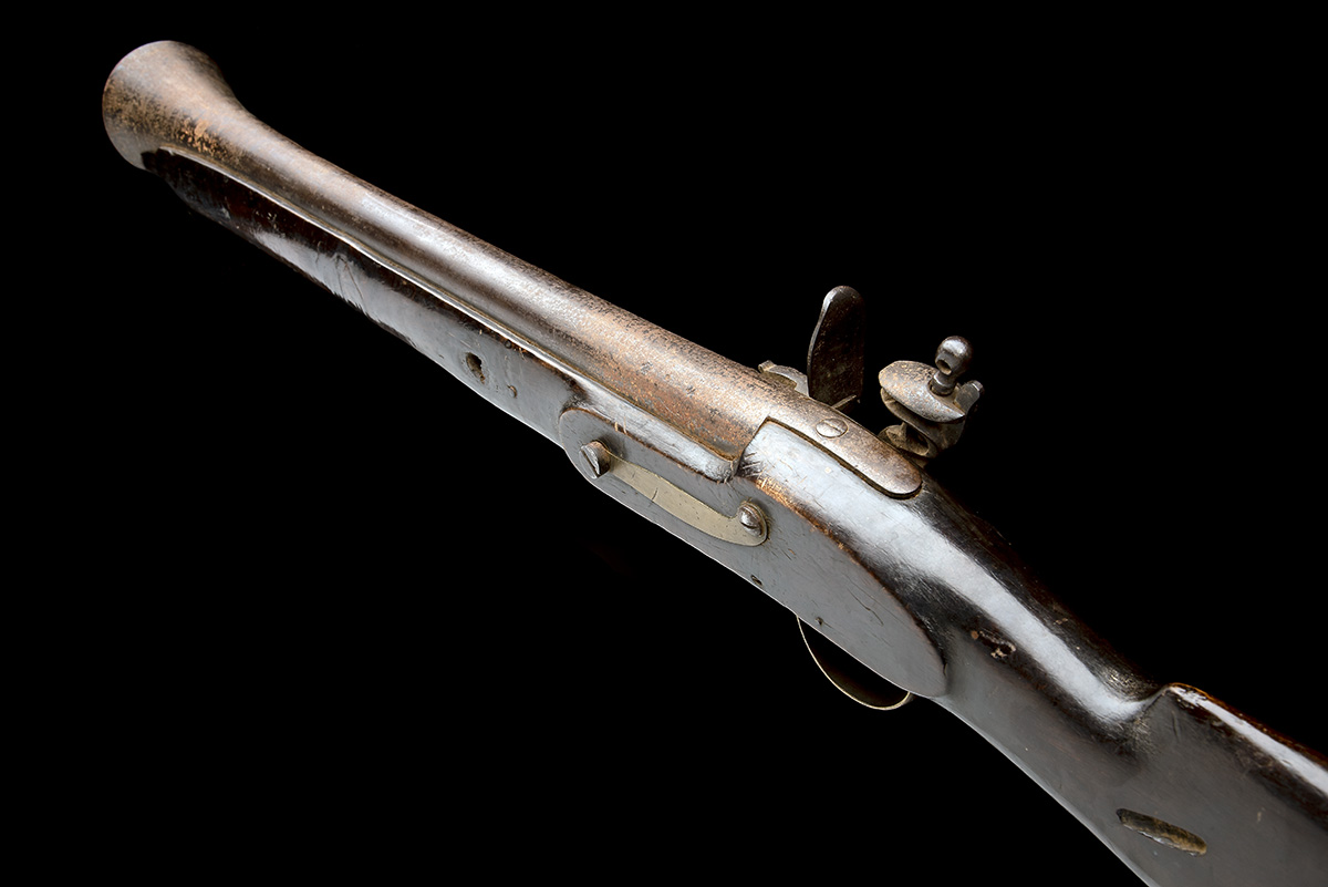 COOPER & GOODMAN, BIRMINGHAM A SUBSTANTIAL 10-BORE FLINTLOCK IRON-BARRELLED BLUNDERBUSS, no - Image 3 of 5