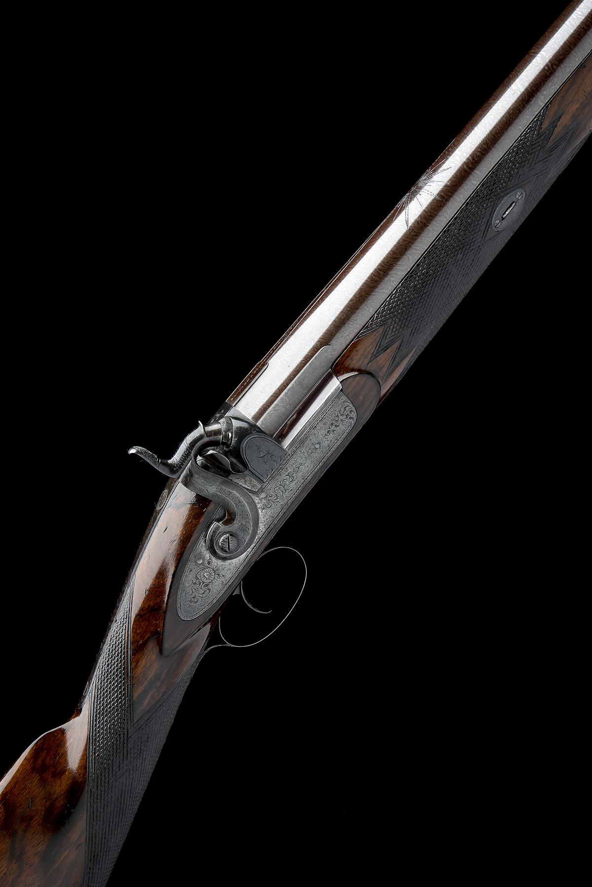 BENTLEY & PLAYFAIR , BIRMINGHAM A GOOD 6-BORE PERCUSSION SINGLE-BARRELLED LIVE PIGEON GUN, no