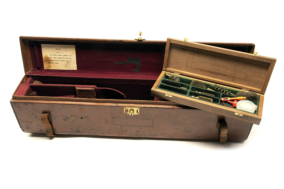 JAMES PURDEY & SONS A LEATHER 'THE PURDEY LIGHTWEIGHT' DOUBLE MOTOR GUNCASE, fitted for 27in.