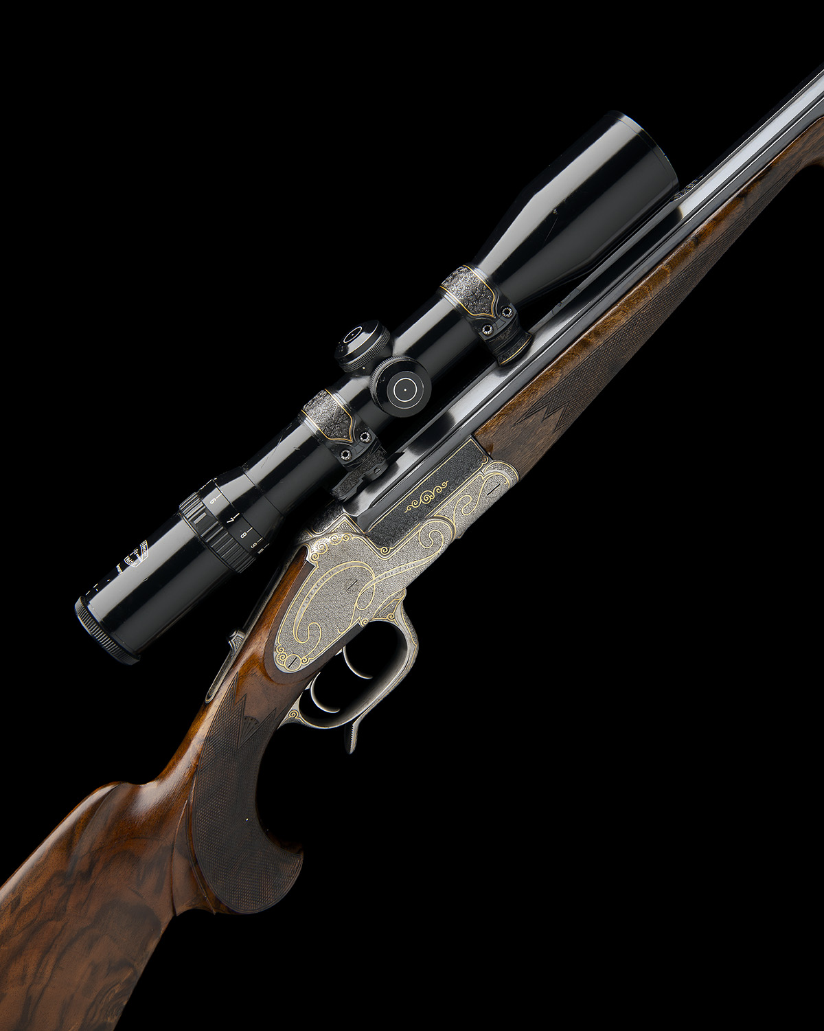H. SCHEIRING A .300 WIN. MAG. JAEGER PATENT SINGLE-BARRELLED SIDEPLATED PUSH-FORWARD UNDERLEVER
