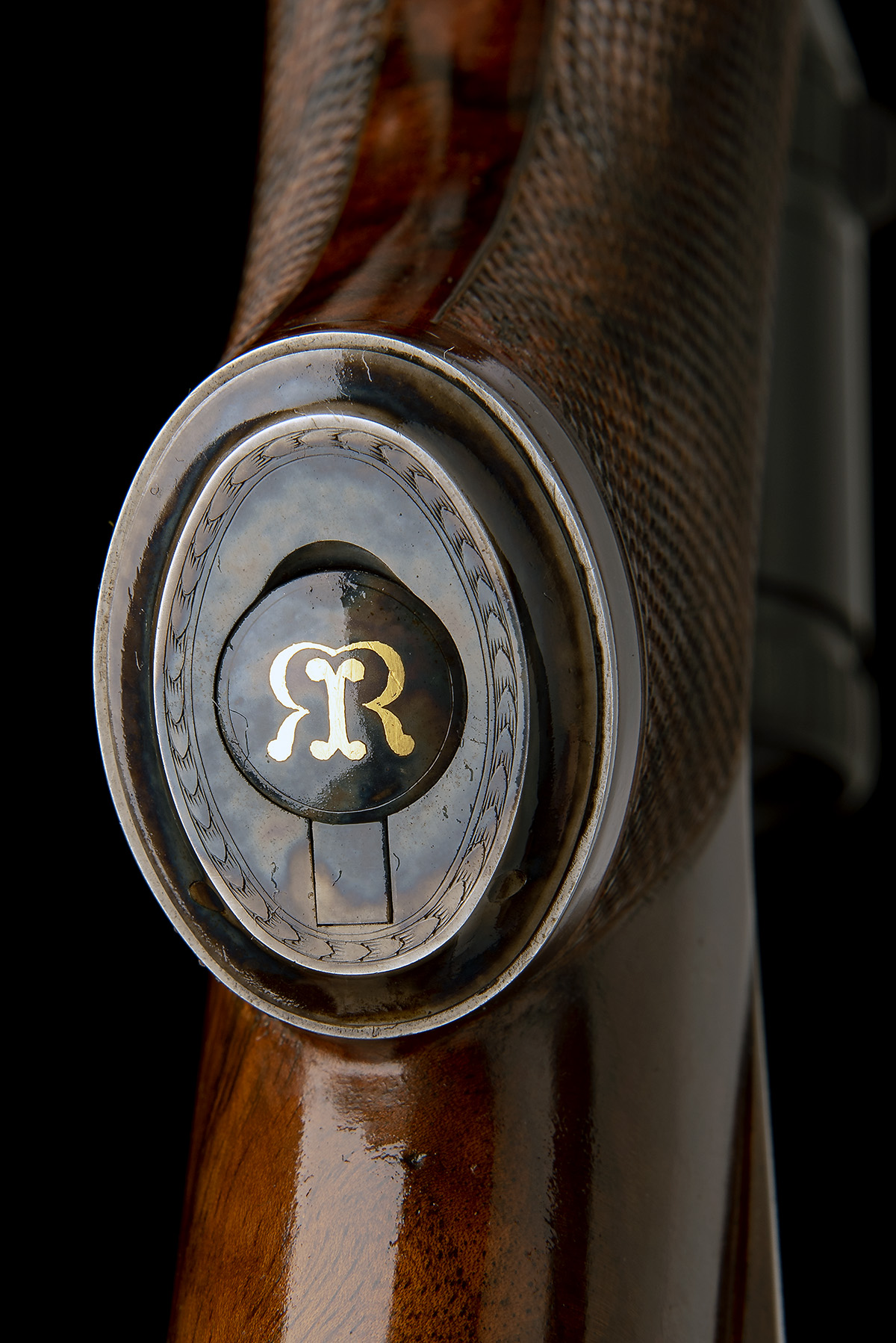 J. RIGBY & CO. A FINE, HUNT-ENGRAVED .375 H&H MAGNUM BOLT-MAGAZINE SPORTING RIFLE, serial no. - Image 6 of 12