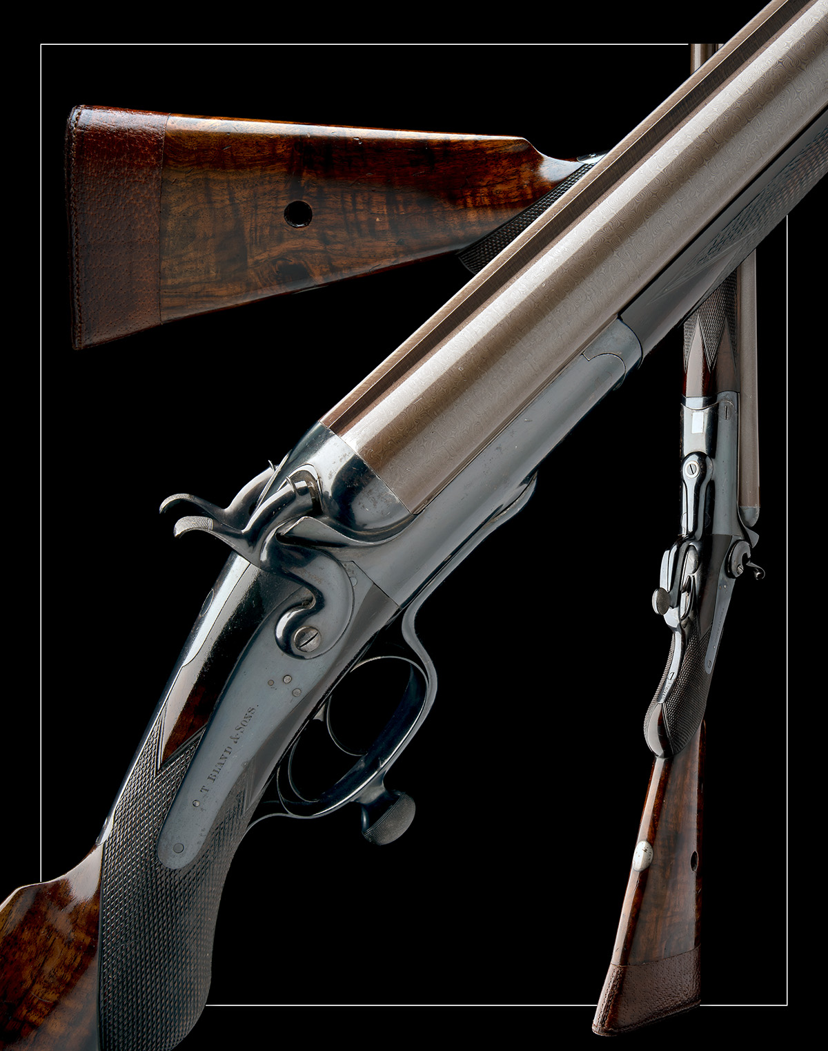 T. BLAND & SONS AN IMPRESSIVE 4-BORE DOUBLE-BARRELLED ROTARY-UNDERLEVER HAMMERGUN, serial no. - Image 10 of 10