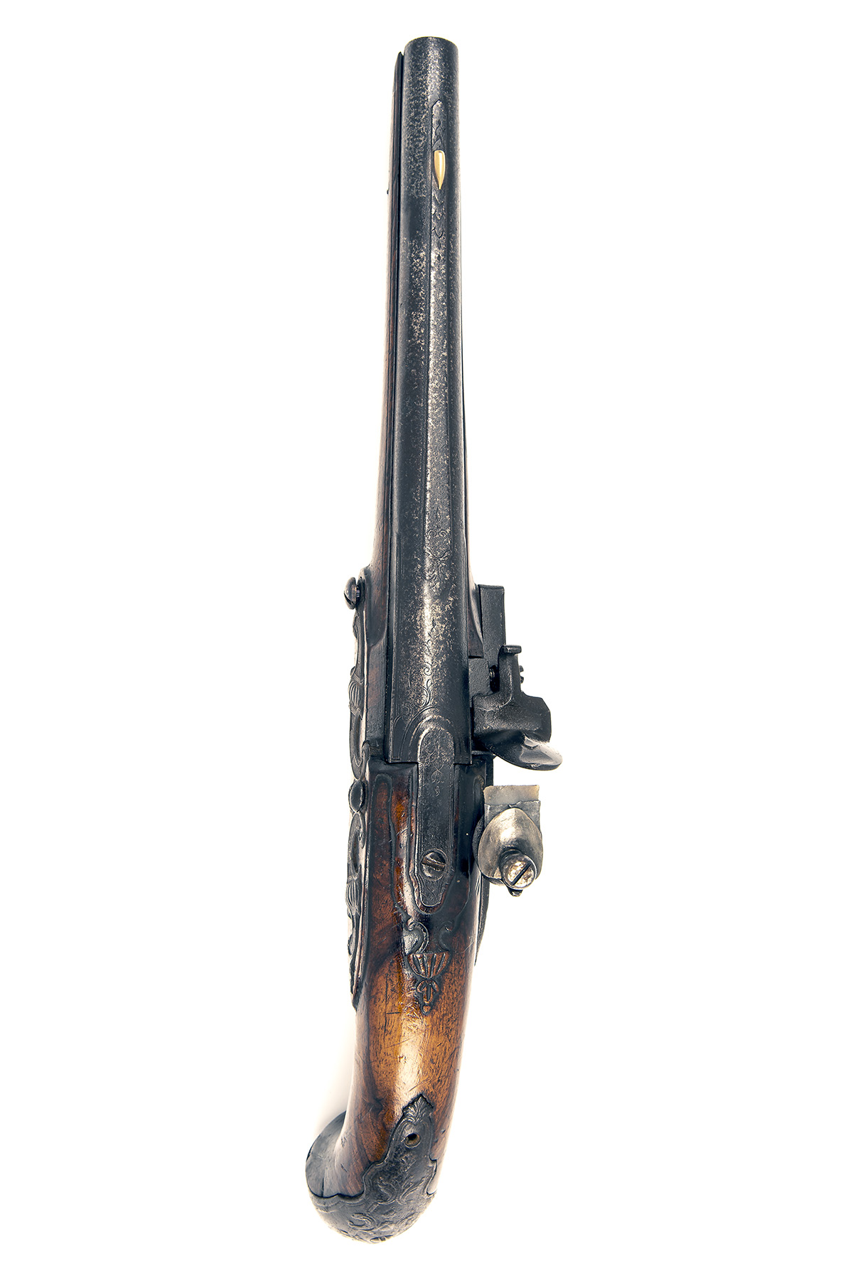 A 22-BORE FLINTLOCK HORSE-PISTOL, UNSIGNED, no visible serial number, German or Bohemian circa 1775, - Image 4 of 7