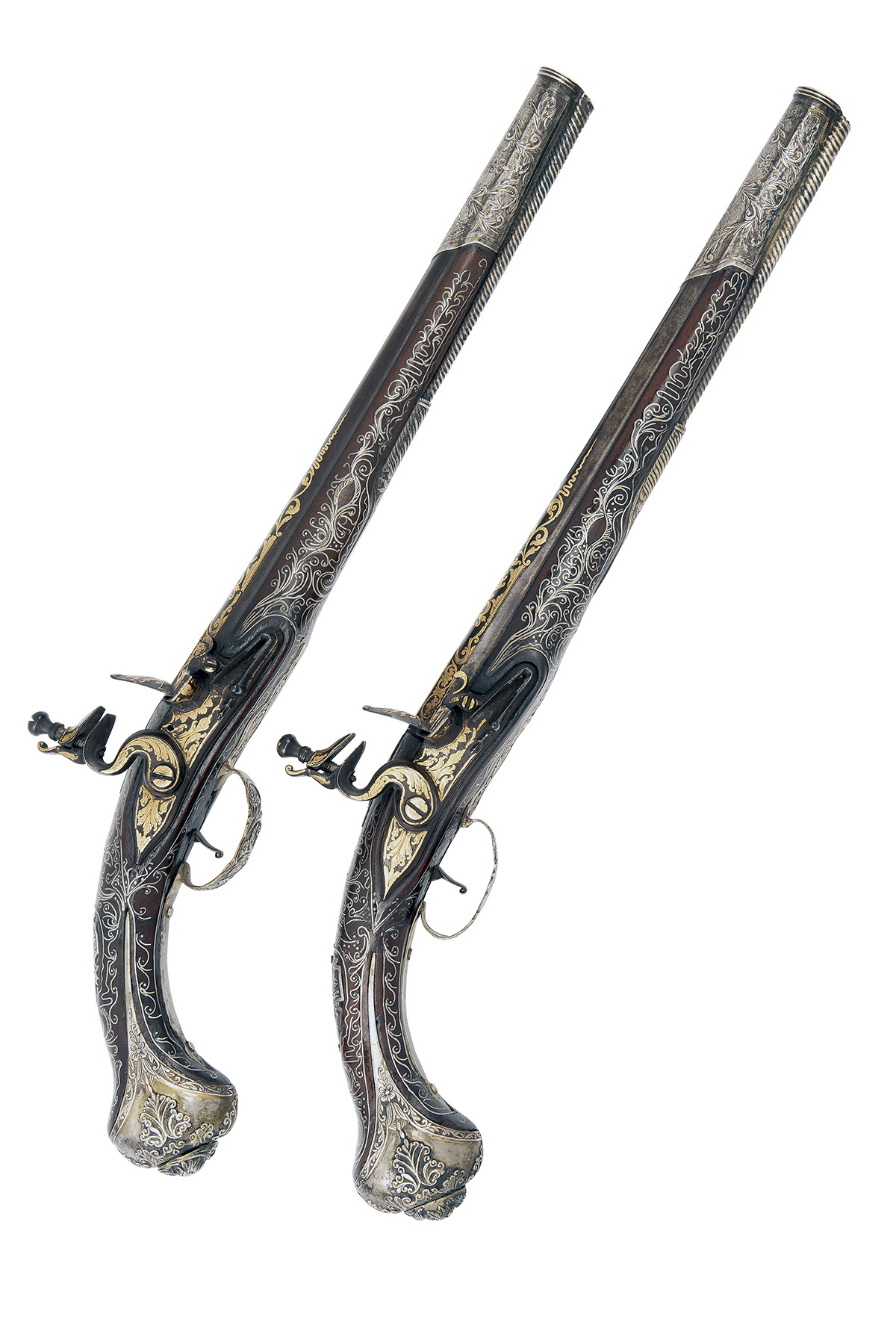 A GOOD PAIR OF 20-BORE FLINTLOCK OTTOMAN HOLSTER-PISTOLS WITH GILT DECORATION, UNSIGNED, no