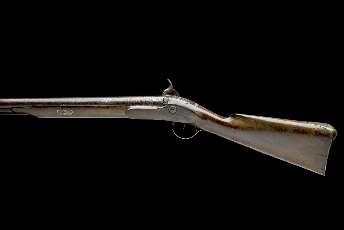 A 10-BORE PERCUSSION BANK-GUN, SIGNATURE OBSCURED, no visible serial number, English, some parts - Image 2 of 7