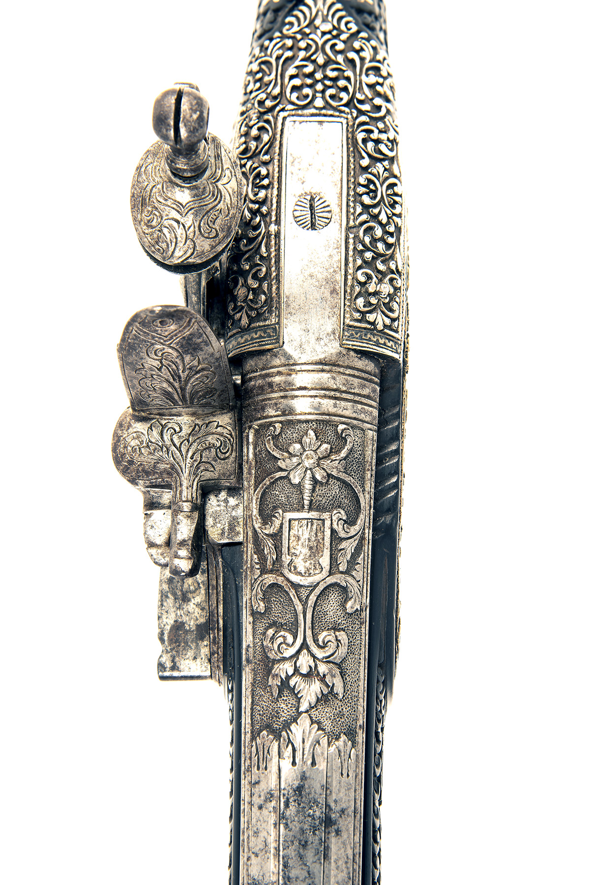A FINE PAIR OF 22-BORE FLINTLOCK HOLSTER-PISTOL WITH EBONY STOCKS AND NIELLO DECORATION, UNSIGNED, - Image 9 of 10