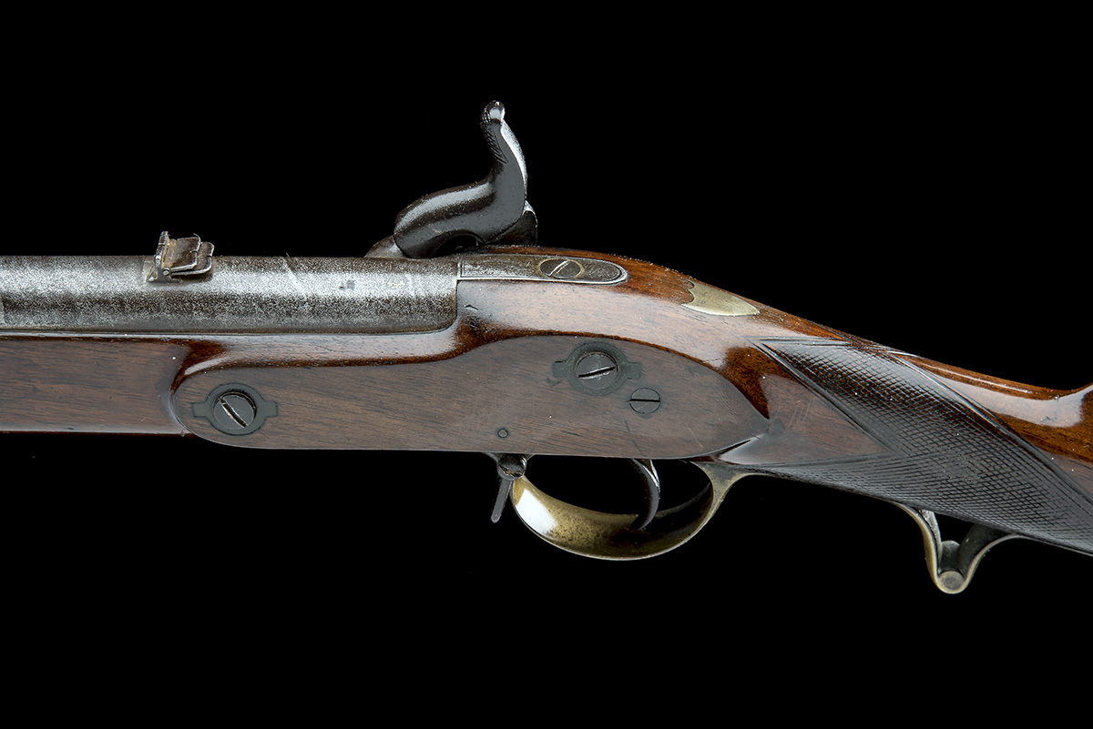 A .660 PERCUSSION RIFLED SINGLE-BARRELLED CAVALRY-CARBINE, UNSIGNED, no visible serial number, circa - Image 4 of 8