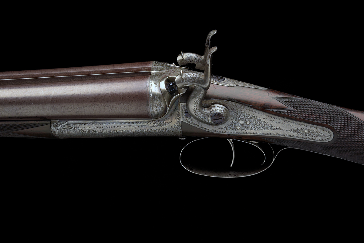 STEPHEN GRANT A 12-BORE 1871 PATENT SIDELEVER HAMMERGUN, serial no. 4419, for 1875, 30in. nitro - Image 3 of 8