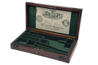 WILLIAM PARSONS, SWAFFHAM A GOOD MAHOGANY PERCUSSION REVOLVER-CASE WITH LABEL, circa 1850 and