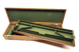 A BRASS-BOUND OAK TWO-TIER PERCUSSION DOUBLE GUNCASE, fitted for 31in. barrels (could adapt to