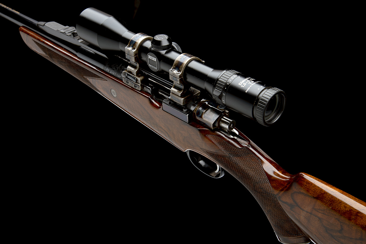 J. RIGBY & CO. A FINE, HUNT-ENGRAVED .375 H&H MAGNUM BOLT-MAGAZINE SPORTING RIFLE, serial no. - Image 10 of 12