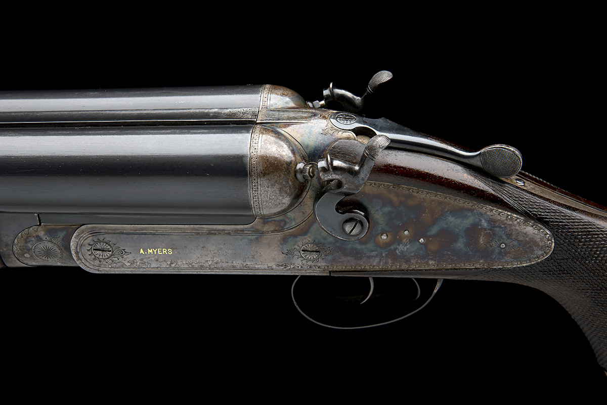A. MYERS A MASSIVE 4-BORE (4 1/2IN.) DOUBLE-BARRELLED TOPLEVER HAMMERGUN, serial no. 806, for - Image 7 of 8