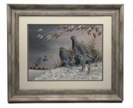 MARK CHESTER (F.W.A.S.) 'WINTER EVENING' an original painting, signed by the artist, showing a brace