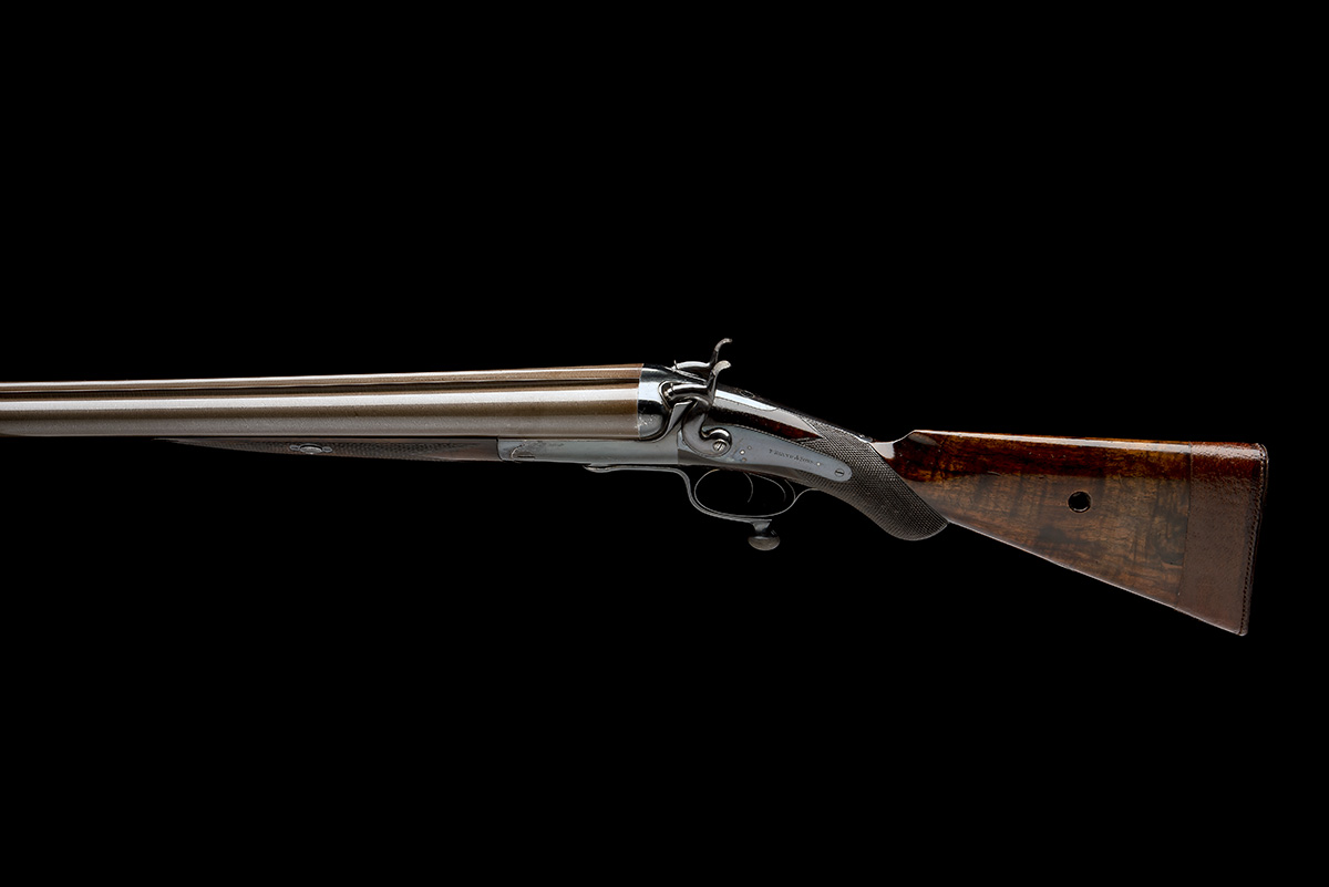 T. BLAND & SONS AN IMPRESSIVE 4-BORE DOUBLE-BARRELLED ROTARY-UNDERLEVER HAMMERGUN, serial no. - Image 2 of 10