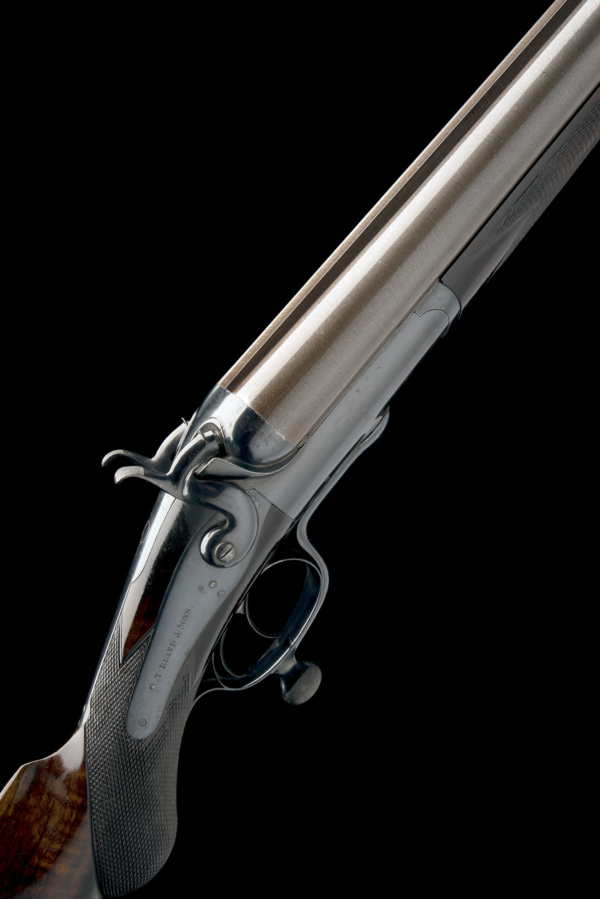 T. BLAND & SONS AN IMPRESSIVE 4-BORE DOUBLE-BARRELLED ROTARY-UNDERLEVER HAMMERGUN, serial no.