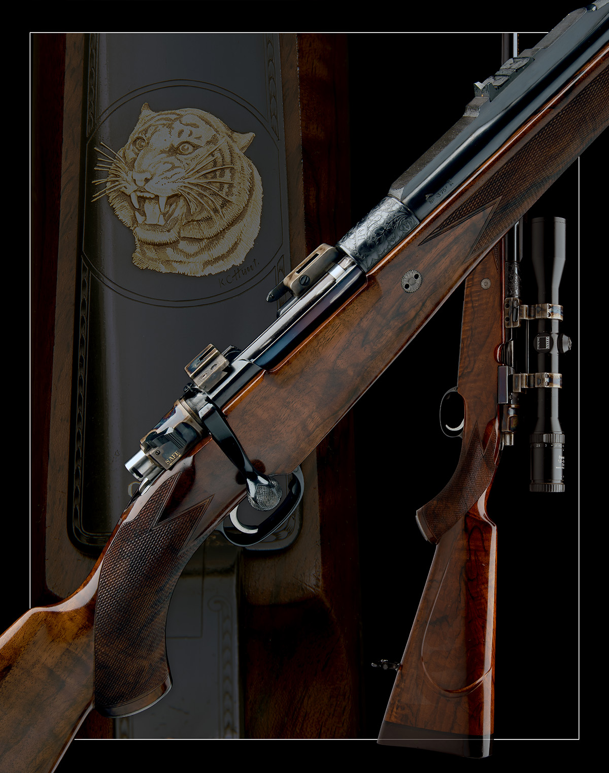 J. RIGBY & CO. A FINE, HUNT-ENGRAVED .375 H&H MAGNUM BOLT-MAGAZINE SPORTING RIFLE, serial no. - Image 12 of 12