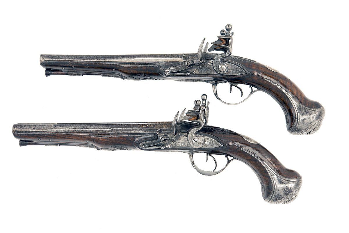 CAIRES, ST ETIENNE, FRANCE A GOOD PAIR OF 28-BORE FLINTLOCK DOUBLE-BARRELLED HOLSTER-PISTOLS, no - Image 2 of 8
