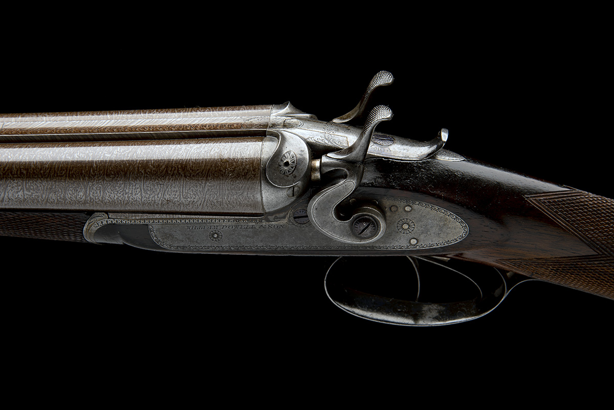 WILLIAM POWELL & SON A 12-BORE 1864 PATENT BAR-IN-WOOD LIFT-UP TOPLEVER ROTATING SINGLE BOLT SNAP- - Image 7 of 8