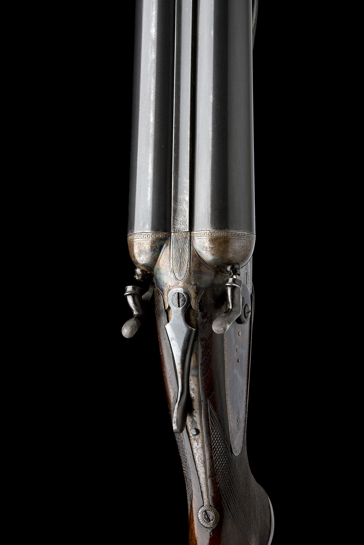 A. MYERS A MASSIVE 4-BORE (4 1/2IN.) DOUBLE-BARRELLED TOPLEVER HAMMERGUN, serial no. 806, for - Image 4 of 8