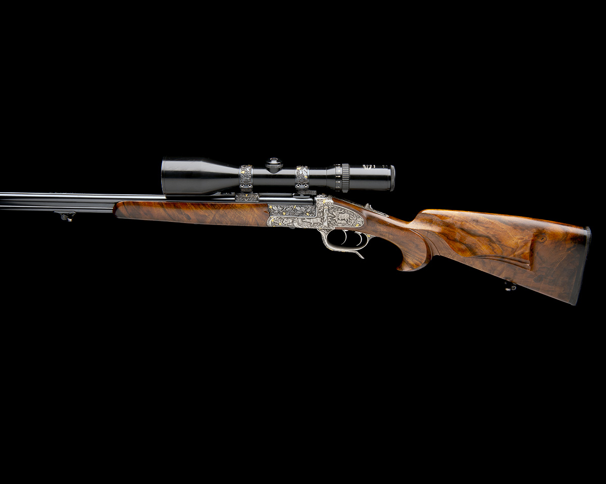 H. SCHEIRING AN 8X57RS / 5.6X50R MAG. JAEGER PATENT SIDEPLATED OVER AND UNDER PUSH-FORWARD - Image 2 of 12