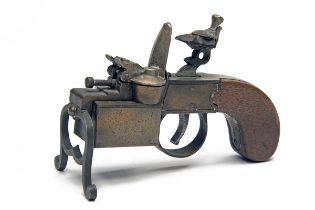 DUNHILL, LONDON A 'TINDER PISTOL' TABLE LIGHTER IN THE FORM OF A FLINTLOCK TINDERBOX, early
