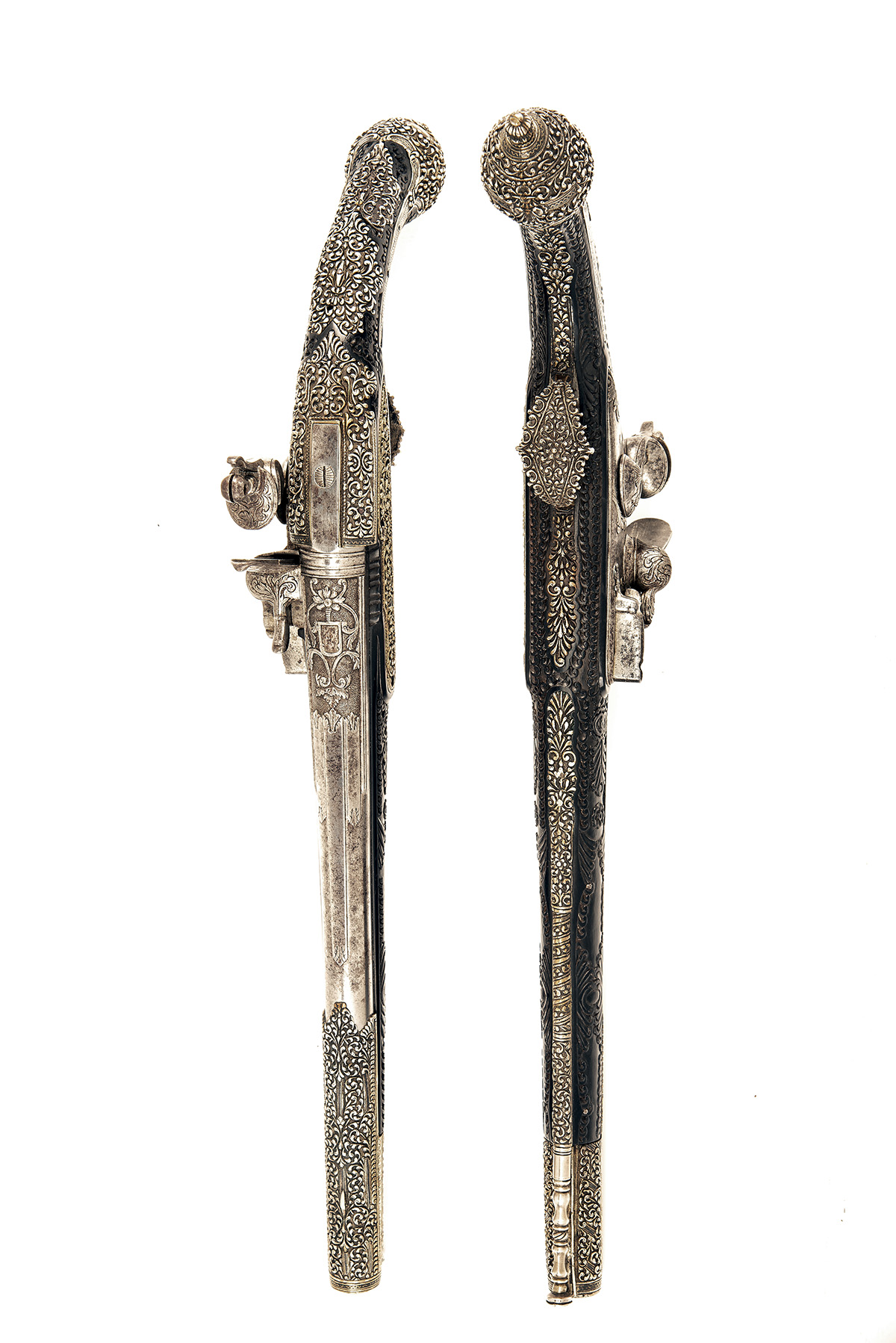 A FINE PAIR OF 22-BORE FLINTLOCK HOLSTER-PISTOL WITH EBONY STOCKS AND NIELLO DECORATION, UNSIGNED, - Image 3 of 10