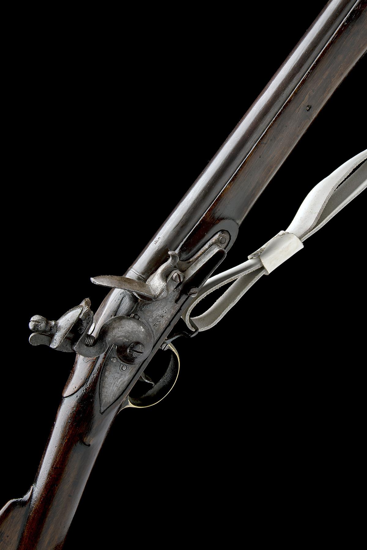 REED, LONDON A .750 FLINTLOCK MUSKET, MODEL 'INDIA PATTERN BROWN BESS', rack no. 47, WITH BAYONET,