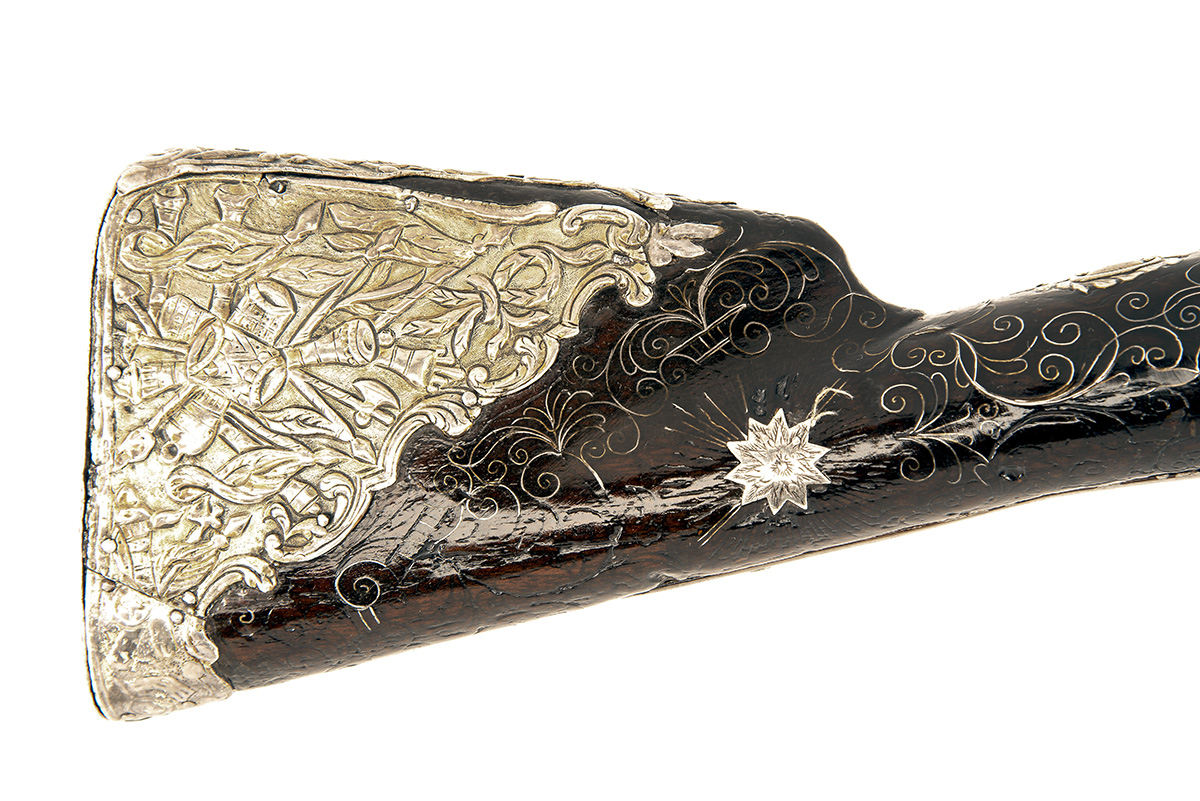AN UNUSUAL AND RARE 28-BORE DOUBLE-BARRELLED FROG-MOUTHED BLUNDERBUSS BREAST-PISTOL, UNSIGNED, no - Image 5 of 7