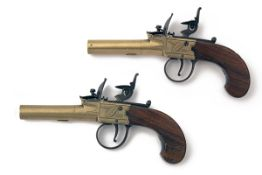 T.W. FIELD, AYLESBURY A PAIR OF 60-BORE FLINTLOCK BRASS BODIED AND BARRELLED POCKET-PISTOLS, no