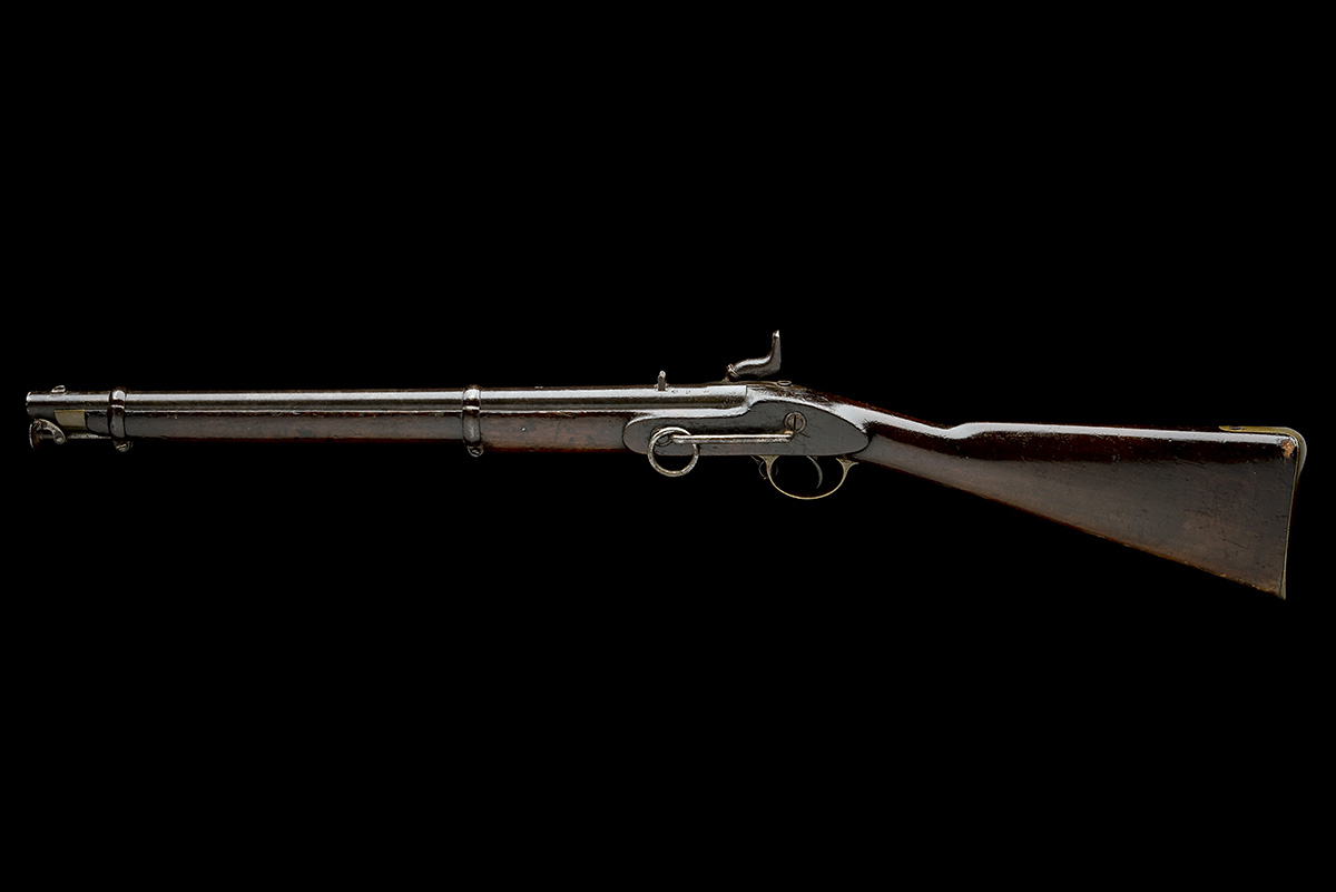 A .650 PERCUSSION SINGLE-BARRELLED CAVALRY-CARBINE, UNSIGNED, MODEL 'INDIA PATTERN', no visible - Image 3 of 7