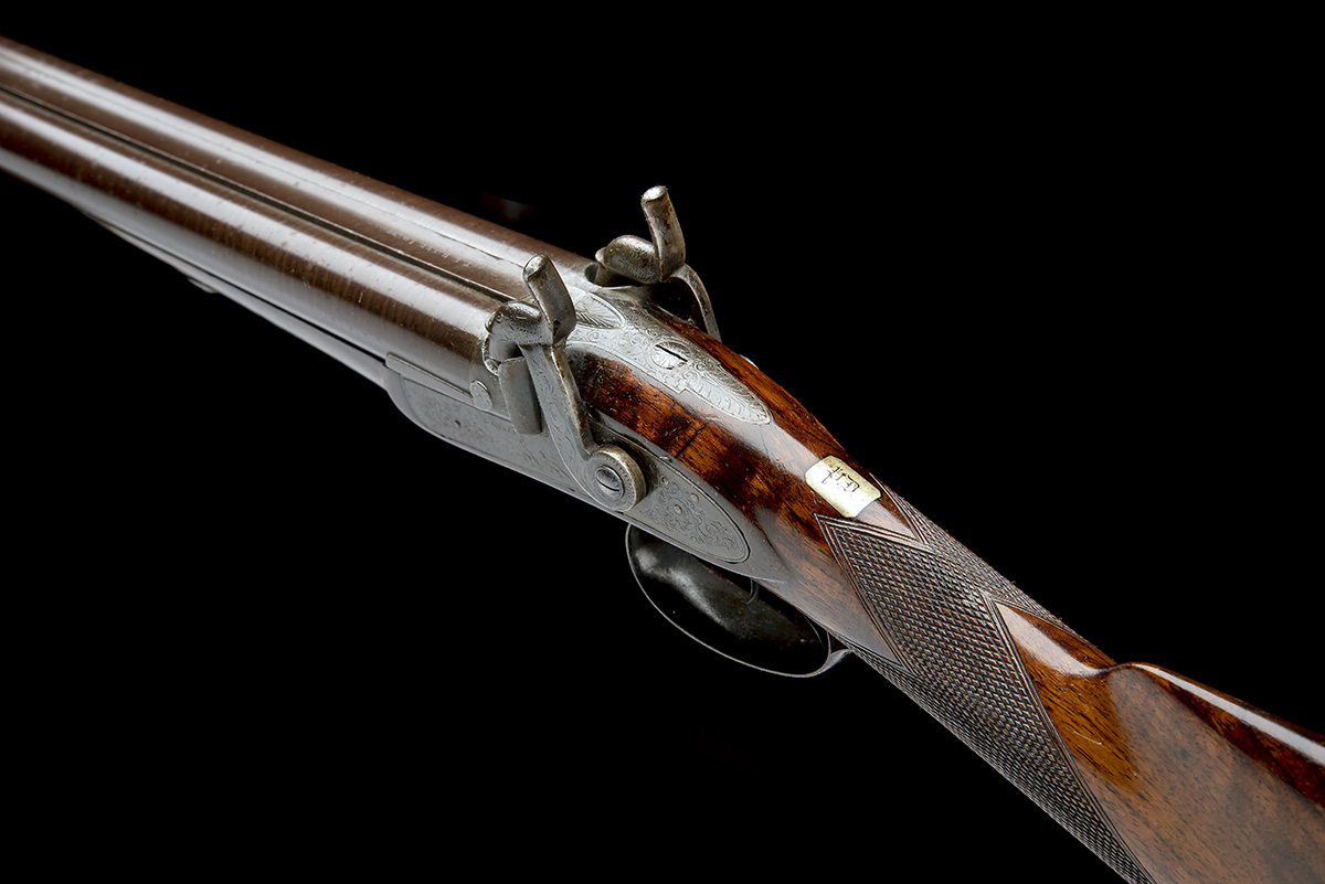 T.K. BAKER, LONDON A 10-BORE PERCUSSION DOUBLE-BARRELLED SPORTING-GUN, no visible serial number, - Image 8 of 8
