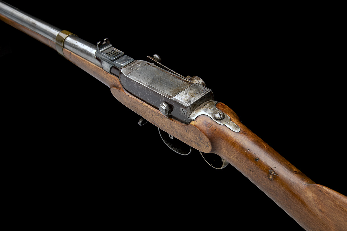 A RARE 17.5mm PERCUSSION BREECH-LOADING SERVICE-RIFLE, MODEL 'NORWEGIAN KAMMERLADER', serial no. - Image 9 of 10