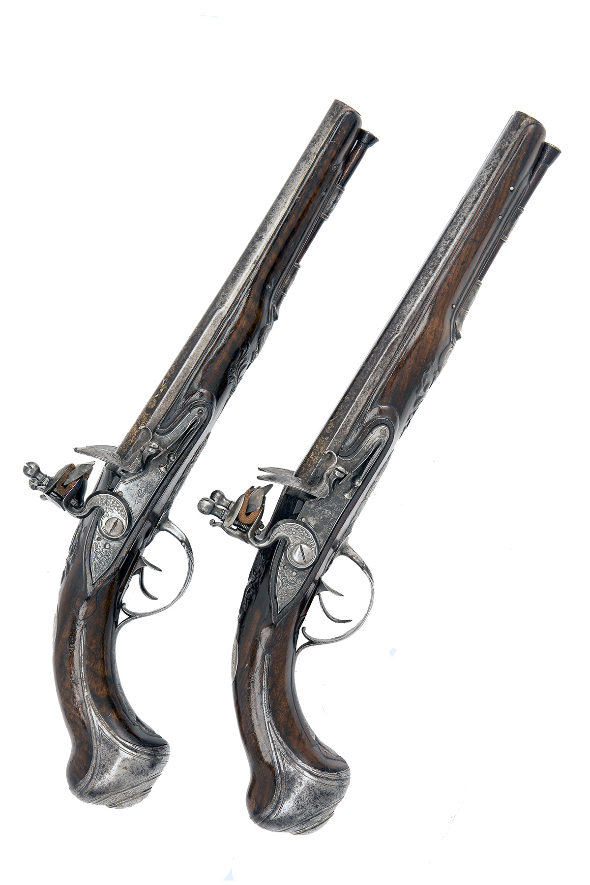 CAIRES, ST ETIENNE, FRANCE A GOOD PAIR OF 28-BORE FLINTLOCK DOUBLE-BARRELLED HOLSTER-PISTOLS, no