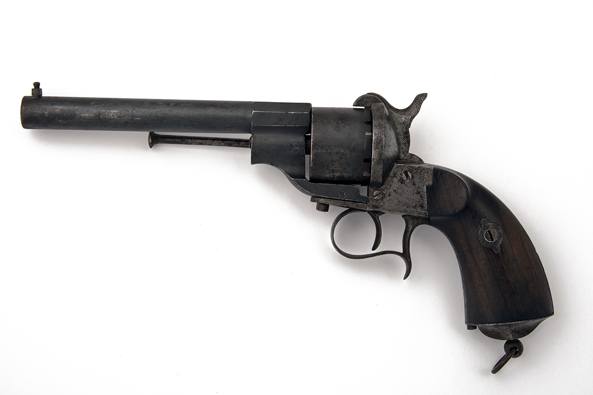 A 12mm PINFIRE REVOLVER SIGNED OVIEDO, MODEL 'LEFAUCHEUX PATENT', serial no. N977, dated for 1864, - Image 2 of 4