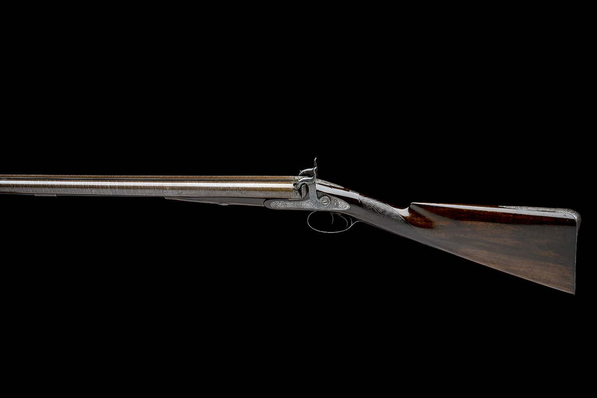 J.C. REILLY, LONDON A GOOD 12-BORE PERCUSSION DOUBLE-BARRELLED SPORTING-GUN, serial no 5580, for - Image 2 of 11