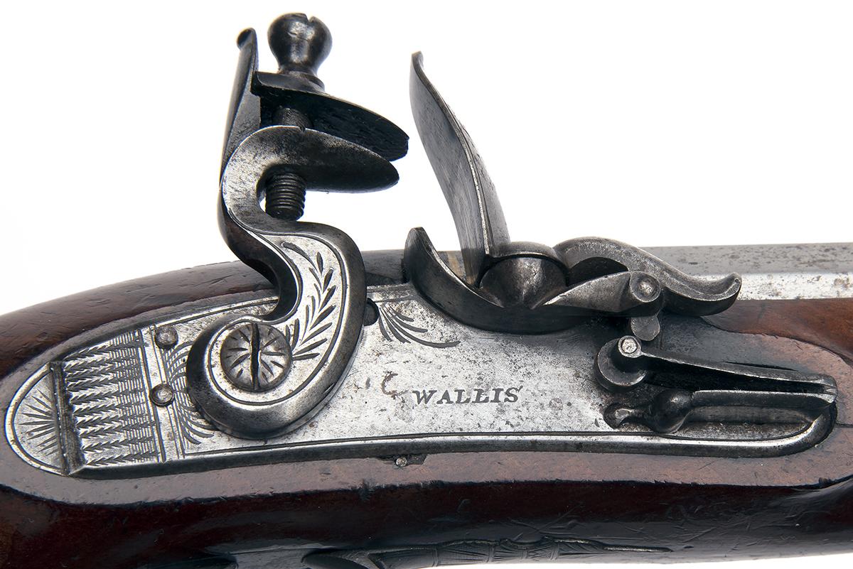 A 25-BORE FLINTLOCK HEAVY OVERCOAT PISTOL SIGNED 'WALLIS', no visible serial number, circa 1810, - Image 4 of 6