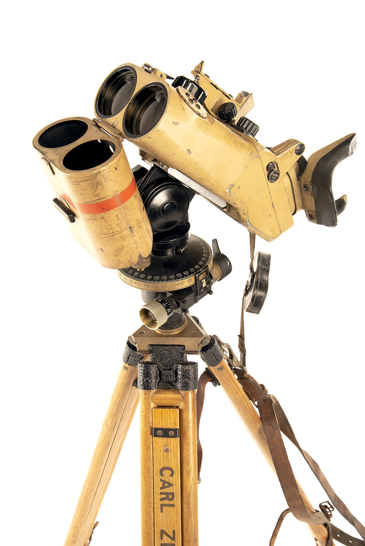 CARL ZEISS, JENA A RARE PAIR OF 12x60 INCLINED FLAK RANGING BINOCULARS WITH TRIPOD, serial no. - Image 6 of 7