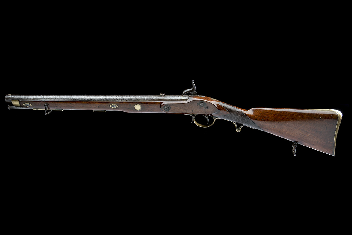 A .660 PERCUSSION RIFLED SINGLE-BARRELLED CAVALRY-CARBINE, UNSIGNED, no visible serial number, circa - Image 3 of 8