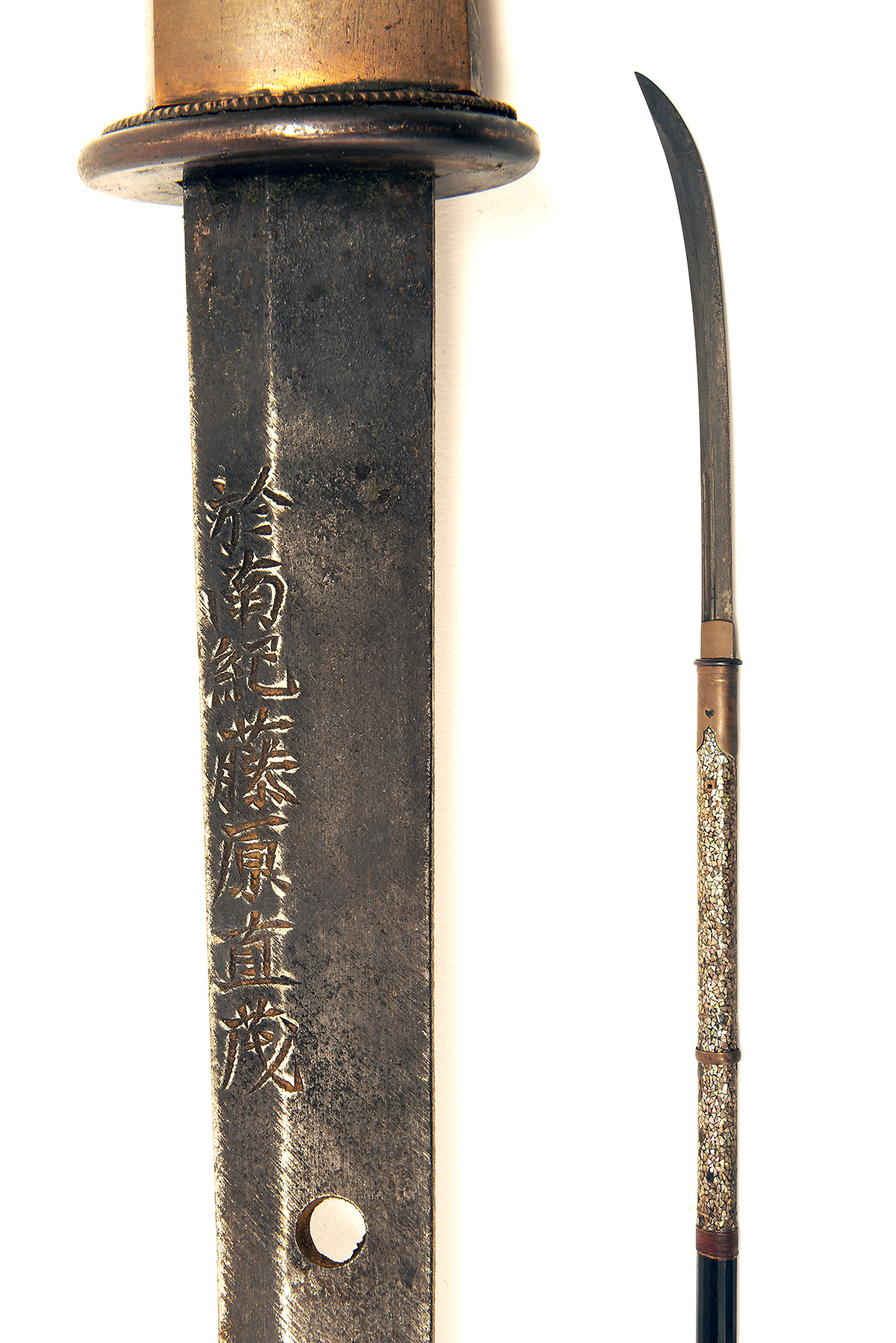 A JAPANESE NAGINATA POLEARM, circa 1800, with curving 18in. blade signed on both sides of the - Image 2 of 4