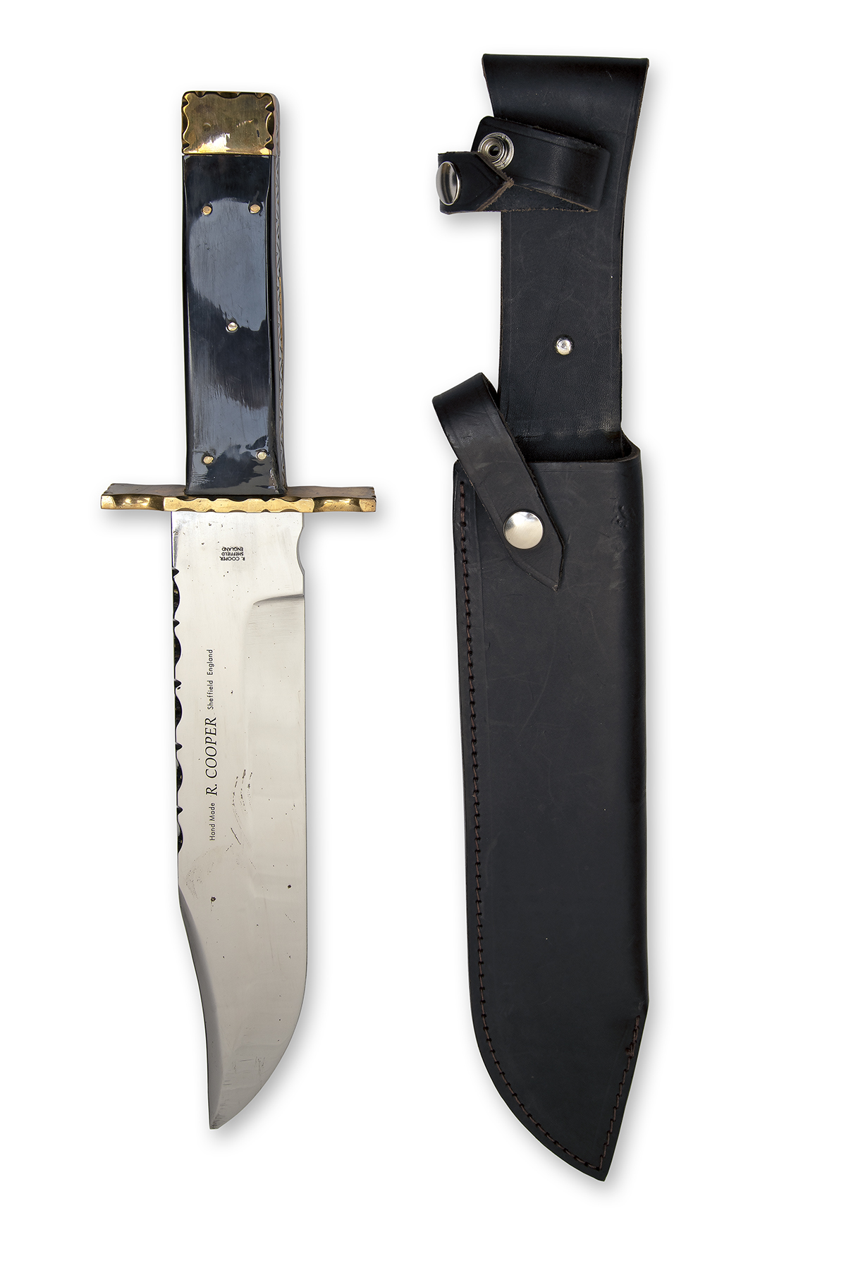 R. COOPER, SHEFFIELD A MASSIVE CUSTOM BOWIE-KNIFE, with 10in. clip-point blade false edged for the