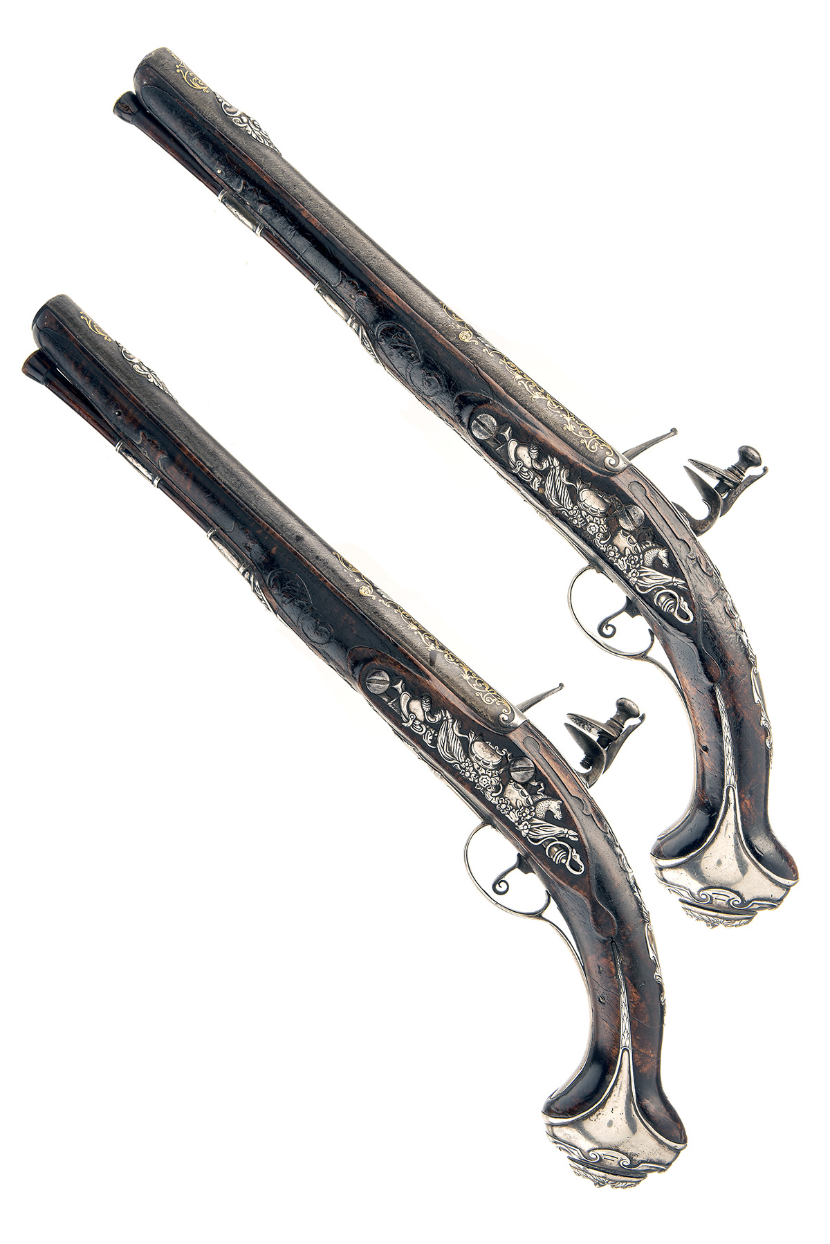 TULA ARSENAL, RUSSIA A MAGNIFICENT PAIR OF 16-BORE FLINTLOCK SILVER & GILT-MOUNTED HOLSTER - Image 6 of 6