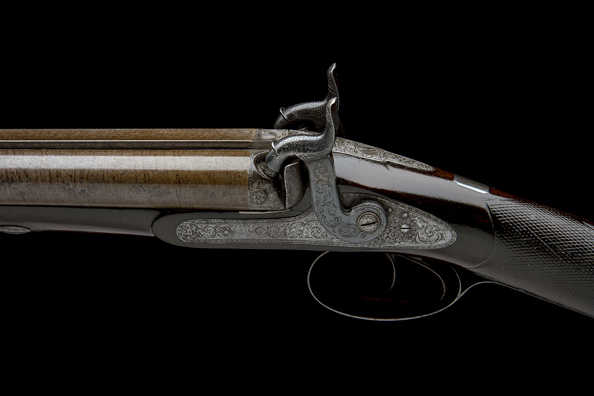 J.C. REILLY, LONDON A GOOD 12-BORE PERCUSSION DOUBLE-BARRELLED SPORTING-GUN, serial no 5580, for - Image 6 of 11